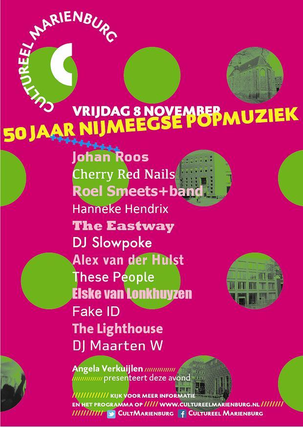 Flyer 50 jaar Nijmeegse popmuziek